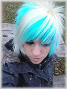 blue and white emo hair style