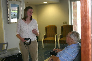 Sara Dickson talks with one of her many admirers at the NC Veterans Home