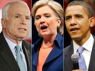 From Left to Right: Senator John McCain, Senator Hillary Clinton, Senator Barack Obama