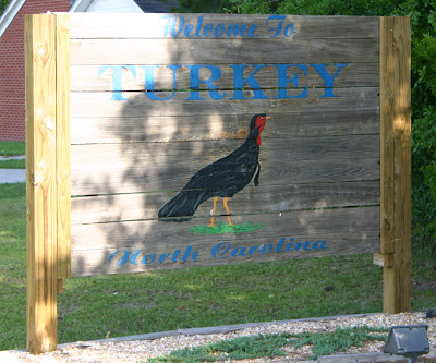 Welcome sign for Turkey, NC