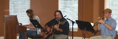 Sara Dickson Jonathan Eller and Justin Dickson aka The StillWaters Jazz Band