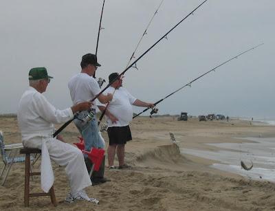Richard Eller, Wayne Eller, and Jonathan Eller fishing at the NC Outer Banks