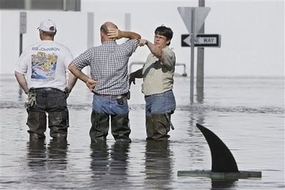 Fake shark fin in the foreground of city workers in Iowa floods