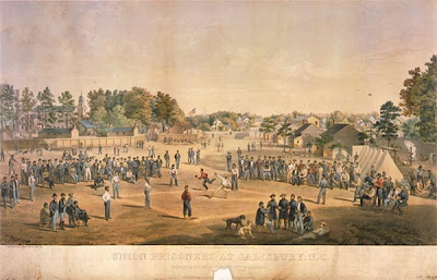 Lithograph of Union prisoners playing baseball at the Confederate Prison in Salisbury, NC