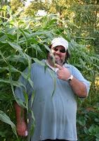 Jonathan Eller standing next to his corn plants