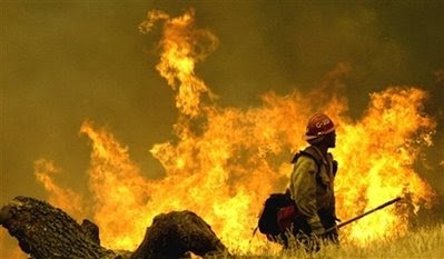 Firefighter battling a wildfire in Califoria