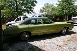 Green 1971 Buick Skylark 4 Door Right Rear Quarter Panel View