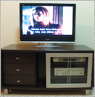 Our brand new Panasonic Viera 32-inch wide LCD TV sits perfectly on the old tv cabinet, November 26, 2007