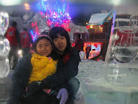 Dylea and Sharon in the Snow World, experiencing winter!