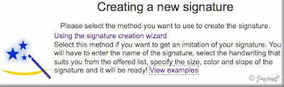 Screen shot on 'Creating a new signature' for creating personalized signature