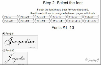 Screen shot on 'Select the font' for creating personalized signature