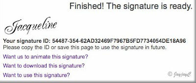 Screen shot on 'Finished: Signature is ready' for creating personalized signature