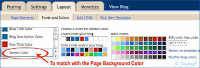 Screen shot of Blogger's Layout feature: Fonts and Colors