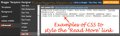 Screen shot of Template Designer illustrating the CSS added for the Read More or Jump link