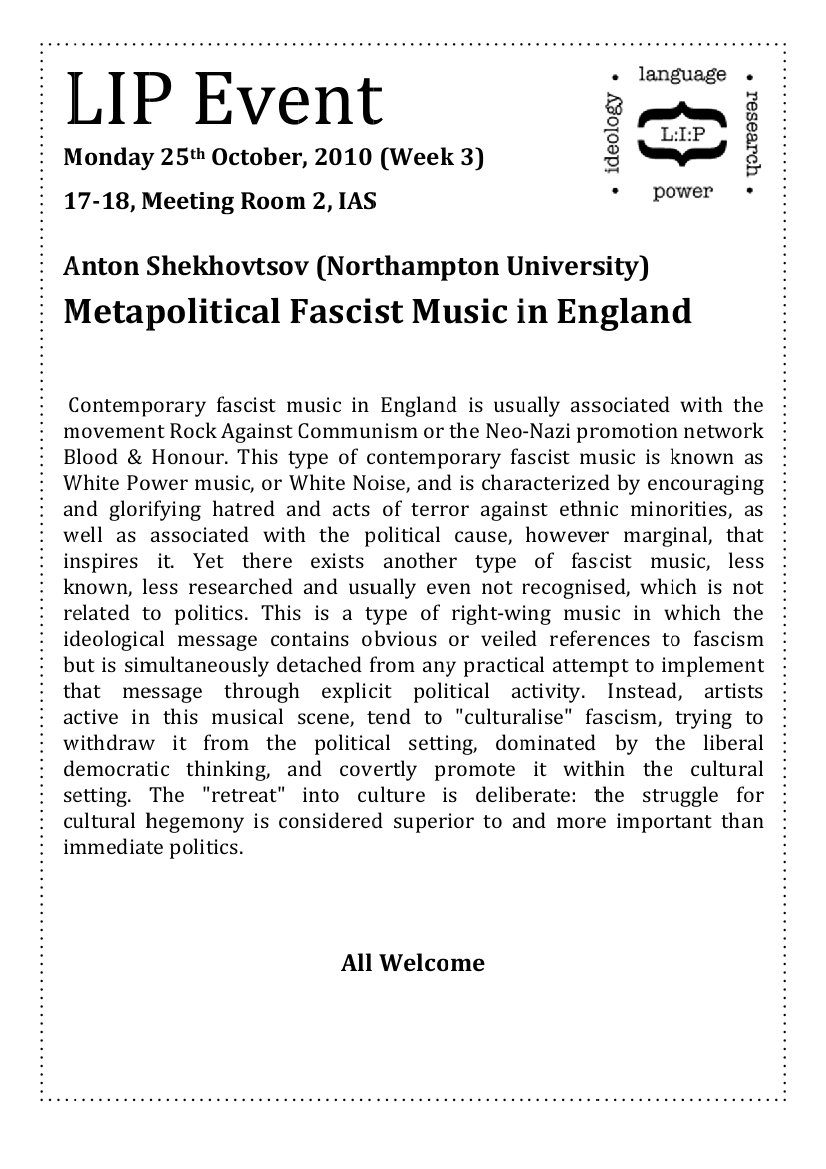 who makes the nazis  sorry for the short notice but anton shekhovtsov author of the essay on apoliteic music i ve referred to a number of times on this blog is giving this