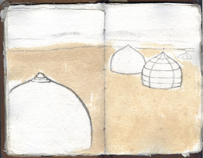 Erin Curry- sketchbook page yurts