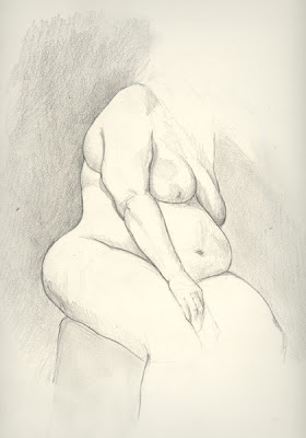 Erin Curry graphite figure drawing large woman