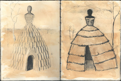 Erin Curry- sketchbook page African housedress