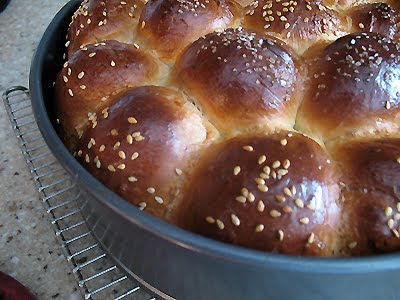 A close up photo of a pan of partybrot, a German party bread.
