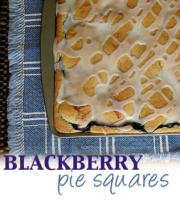 An overhead photo of a pan of blackberry pie squares.