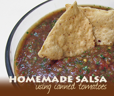 A close up photo of a bowl of homemade salsa from canned tomatoes with two tortilla chips resting on top.