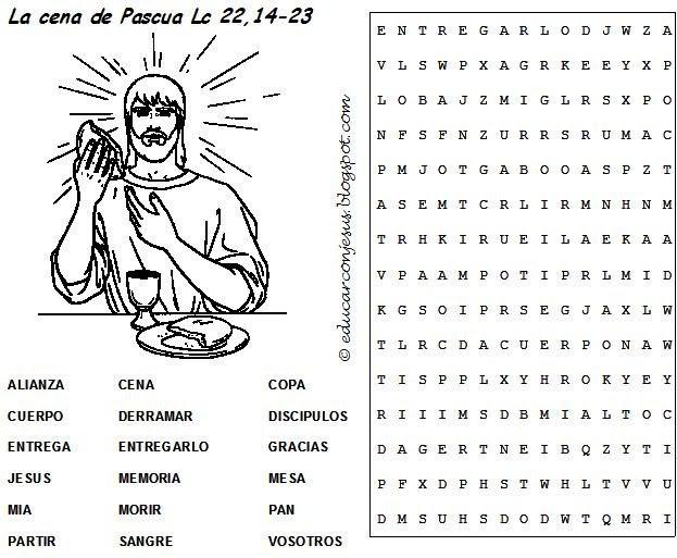 Libro Para Colorear Madre Hija Ilustraciones Vectoriales Clip: Educar Con Jesús: Sopa De Letras Semana Santa 2. Cena De