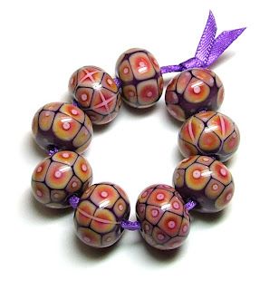 Violet Sunset Lampwork Beads