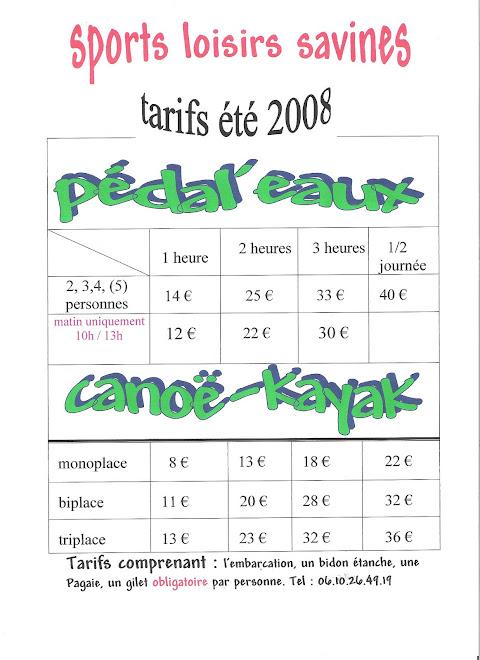 tarifs 2009 ACTIVITES NAUTIQUES