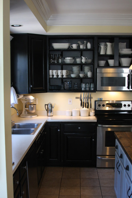 Dark Charcoal Kitchen With Oxidized Porcelain Tile Floors