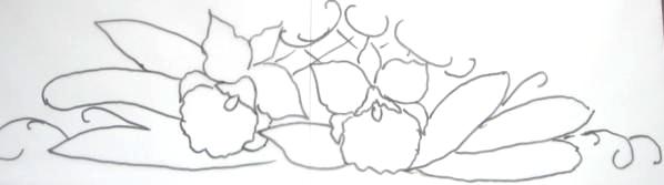 pintura em tecido risco pano de prato orquídea