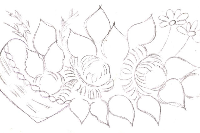 pintura em tecido pano de prato cesta flores