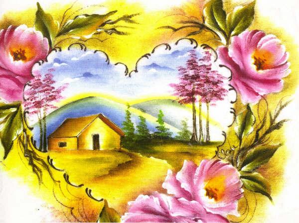 pintura em tecido paisagem rosas e casa
