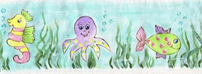 pintura em tecido infantil fralda fundo do mar