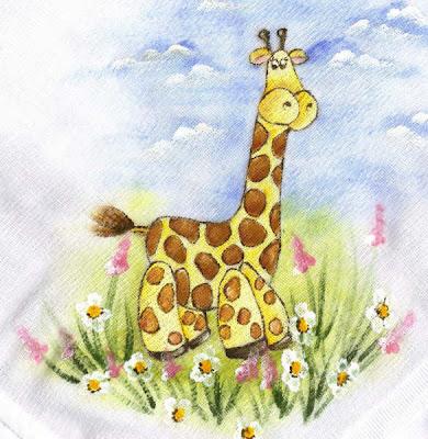 pintura em tecido infantil fralda girafa