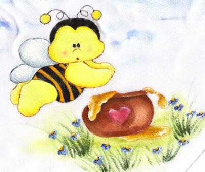 pintura em tecido infantil fralda abelha