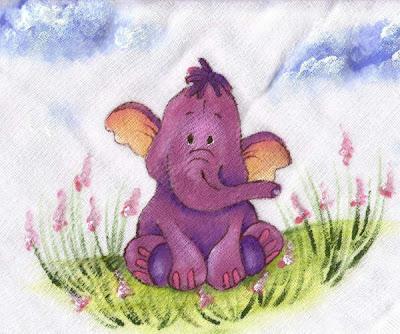 pintura em tecido infantil fralda elefante
