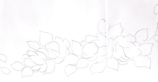 pintura em tecido risco de rosas para pintar.