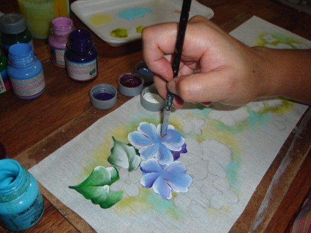 pintura em tecido como fazer violeta