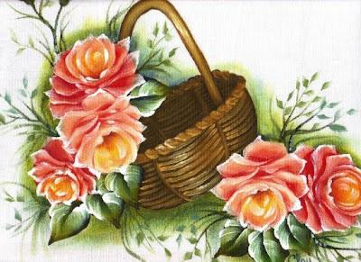 pintura em tecido pano de prato cesta de rosas