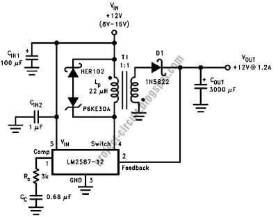 Free Project Circuit Diagram: 12V Flyback Regulator Circuit