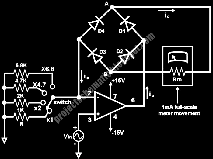 Free Project Circuit Schematic: Low Voltage AC Voltmeter Circuit