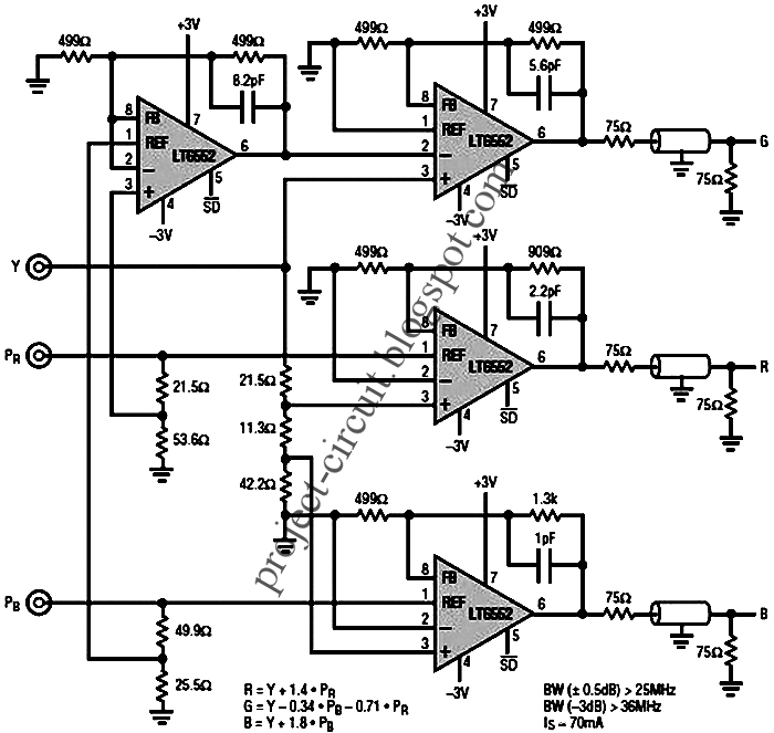 electronics technology  ypbpr to rgb video converter circuit using lt6552