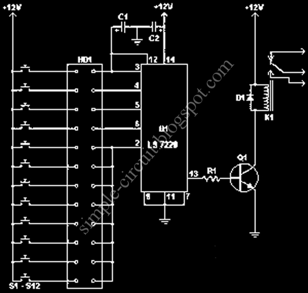Simple Electronic Combination Lock Circuit Schematic With