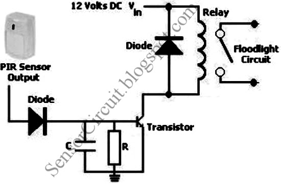 pir motion sensor switch circuit schematic