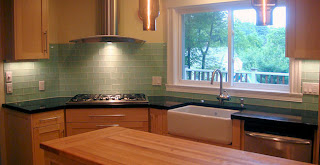 Interior Design: Green Subway Tile Backsplash