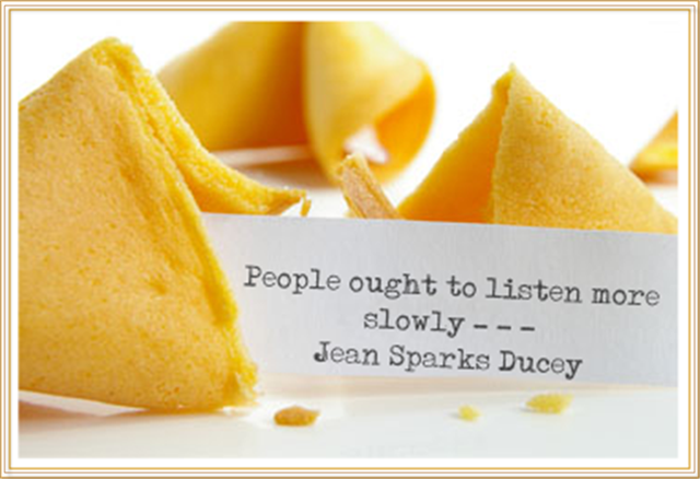 fortune cookie with listen quote