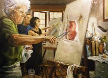 A aula de pintura.