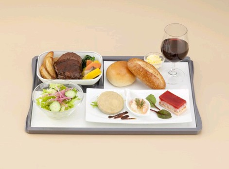 Brand new Japan Airlines (JAL) business class menu on Southeast Asia flights: Western entree with western sides choice