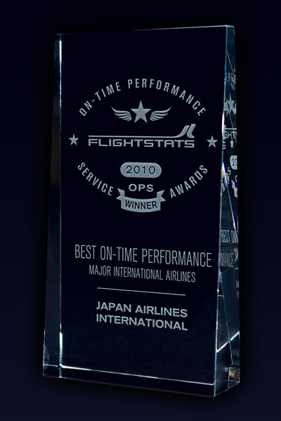 Award trophy for 2010 Most On-time Major International Airlines for JAL