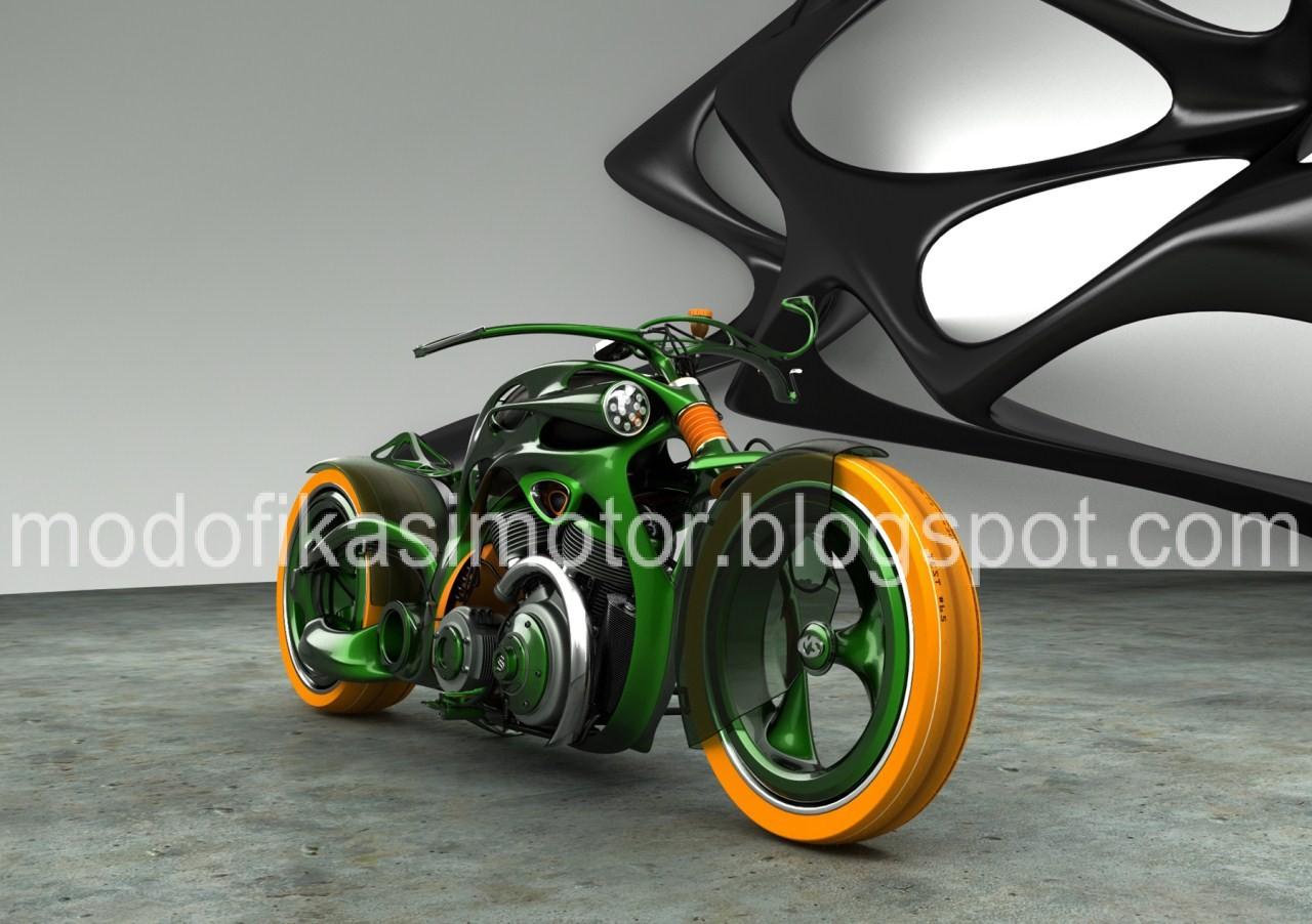 Motorcycles Modifikasi Motor Vespa Chopper Green Style Concept